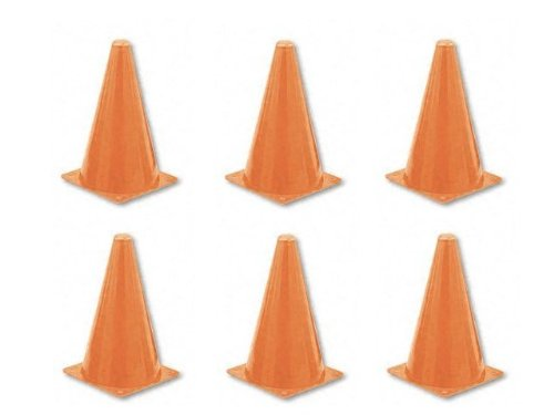 "Champion Sports Multipurpose 9"" Orange Traffic Safety Cone, Set Of 6 front-1010023"