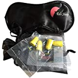 'Ezi Sleep' premium sleeping mask with 2 earplugs + a bonus pack of 4 extra earplugs - Super soft Satin finish - ideal for travel - long flights - short naps -blocks annoying light from eyes - Strong and Light eye cover - Ultra comfortable mask encourages deep sleep - great for insomnia and sleep disorders