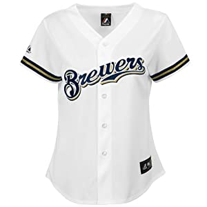 MLB Milwaukee Brewers Home Replica Baseball Ladies Jersey, White by Majestic