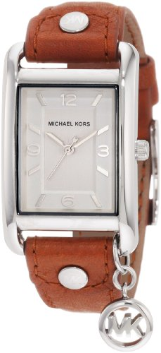 Michael Kors Mk2165 Ladies Watch with Brown Leather Strap and Silver Dial