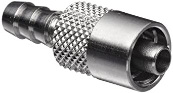 "Luer Connector - Stainless Steel 316 Male Luer Lock, For 3/16"" Tube, Barb O.D. 0.205"""