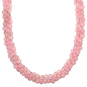 Rose Quartz Twisted Rope Necklace (18') w/Clasp - 1pc.