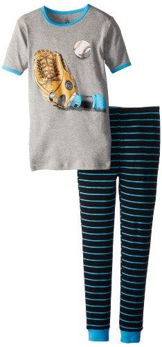 Petit Lem Big Boys' Baseball 2 Piece Pant Sleep Set, Blue Stripe, 10 front-1074000