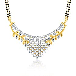 Meenaz Sublime Gold And Rhodium Plated Cz Mangalsutra Pendant For Women