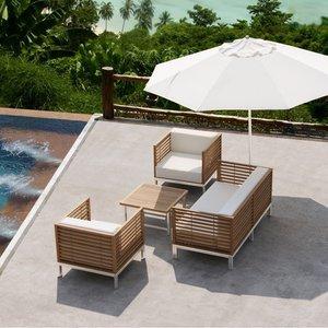 Salon de jardin haut de gamme Malé en teck et inox, coussins écru