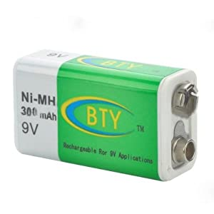"""BTY Rechargeable """"300mAh"""" Ni-MH 9V Battery"""
