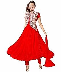 Bhakti Creation Women Georgette Dress Material (Red)