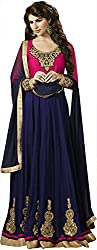 Shine Kreations Women's Georgette & Net Unstitched Salwar Suit (S-11, Pink & Dark Blue)