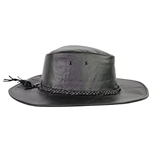 Black Leather Down Under Western Cowboy Hat AC106 S