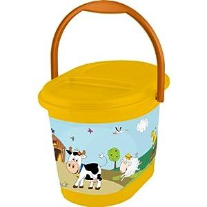 OKT Kids 11801456063 - Cubo para bebé, diseño de granja, color naranja - BebeHogar.com