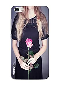 Omnam Girl Without Face In Black Dress With Rose Printed Designer Back Cover Case For Xiaomi Mi5