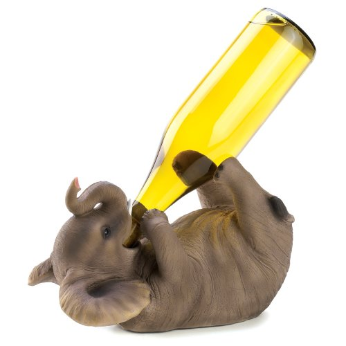 Gifts & Decor Playful Elephant Decorative Wine Bottle Holder Rack