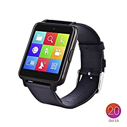 OUMAX™Bluetooth Smart Watch S6 Plus for iPhone 6, 6 Plus, 6S and Samsung S6, Note 5 (Full Function Support for iOS 9.0 and Android 4.3 or above)¨Cdark grey/IPS Panel/Premium Leather Strap
