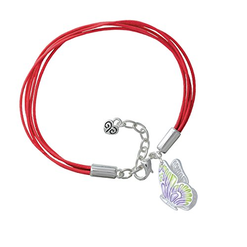 Large Translucent Purple & Lime Green Flying Butterfly Red Leather Aruba Bracelet
