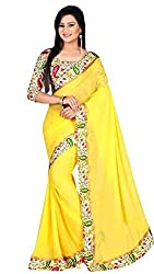 Morpankh enterprise Yellow Georgette Saree ( 107 look desire yellow kerry )