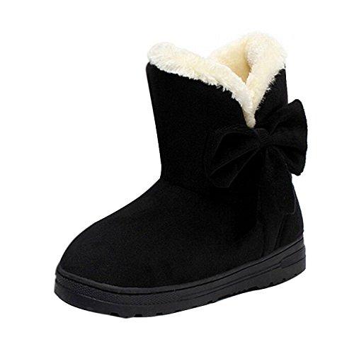 Sanksk Women's Classic Faux Fur Snow Ankle Boots Mid-calf Bowknot Flat Shoes Black8 B(M) US Charming (Canada Snow Shoes compare prices)