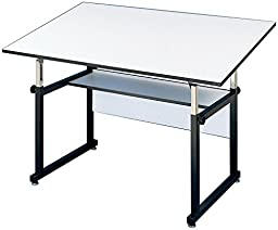 Alvin WorkMaster Table, Black Base White Top 37 1/2\