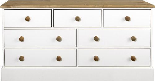 Chest 4 Plus 3-Drawers and Pine Handles, White