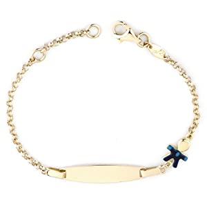 14k Yellow Gold Boy Baby ID Enamel Bracelet, 6