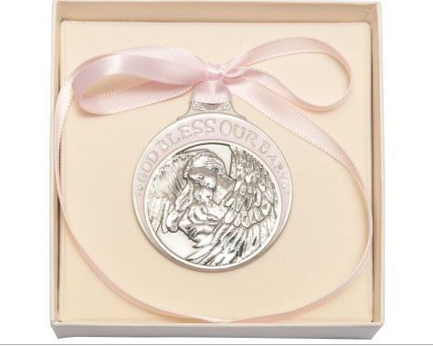 Pewter Baby With Guardian Angel Crib Medal With Pink Ribbon - Boxed