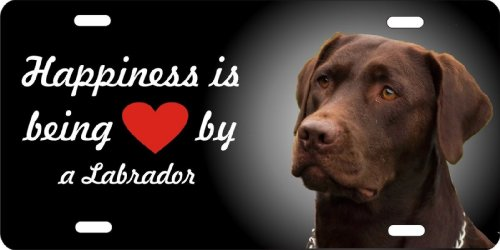 ATD Design LLC Novelty License Plate Happiness is Being Loved By a Chocolate Lab Labrador