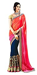 khanak export Women's Georgette Saree(KE_01_Multi-Coloured_Free Size)