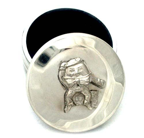 Childs pewter trinket box humpty dumpty - nursery rhyme