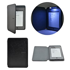 Lighted Smart Leather Cover Sleeve Case Built-in-LED Light For Amazon Kindle Touch (Black)