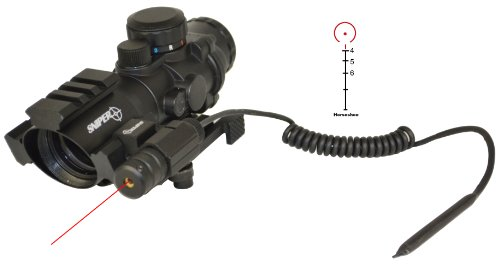 Tactical Scope With Three Rail On Top And Two Side With Red Laser Less Than 5 Mv And Eched Horseshoe Reticle