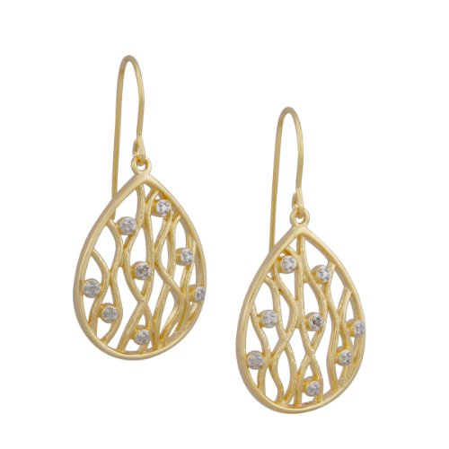 18k Yellow Gold Plated Sterling Silver Diamond Accent Filigree Teardrop Dangle Wire Earrings