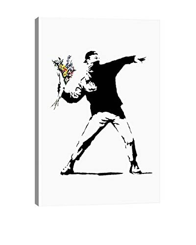 Banksy Rage, Flower Thrower Giclée On Canvas