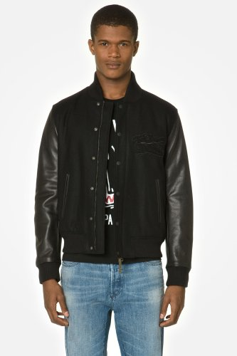 L!VE Wool Bomber Jacket With Leather Sleeves