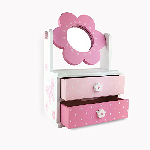 Hoddmimis Home & Living Wooden Jewelry Box with 2 Pull-Out Drawers (Butterfly Graphics)