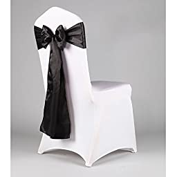 WCAN 50 pieces 6 x 108 Inch ( 17 x 275cm ) Black Satin Chair Sash Ribbon Bows for Wedding Party Chair Decoration