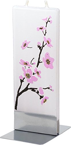 flatyz-pink-flowering-tree-twin-wick-thin-flat-candle-decorative-functional