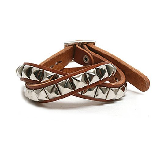Square Stud 2 Layer Leather Bracelets - Camel