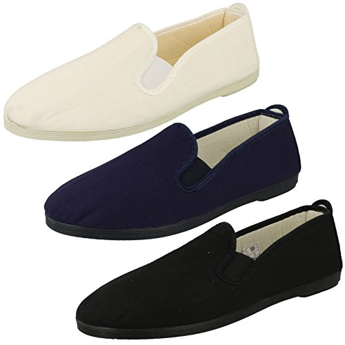 Da uomo Kung Fu Slip On Plimsolls a1063, nero (Black), 44