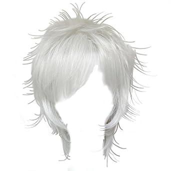 Dream2reality Cosplay_Gintama_Sakata Gintoki_bottom curl_35cm_silver white_Japanese kanekalon wigs