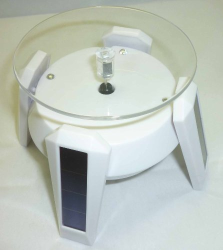 Led Light With Small Solar Turntable Turntable Solar Type Figure Swivel Stand (White) (Japan Import)