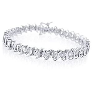 Paris Jewelry 10K White Gold 2 Carat Diamond S-Link Tennis Bracelet
