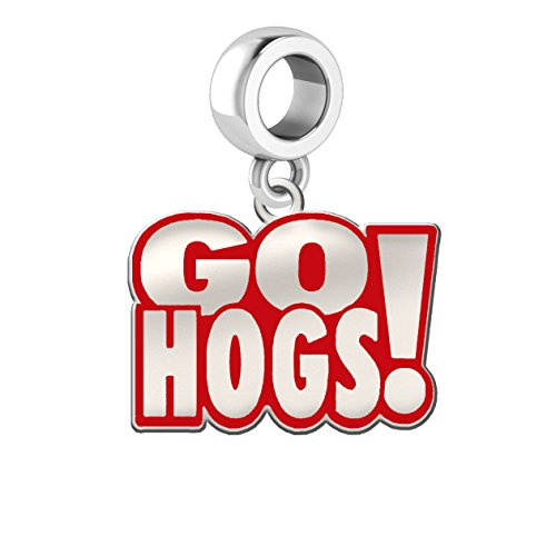 Arkansas Razorbacks Silver and School Color Dangle Charm