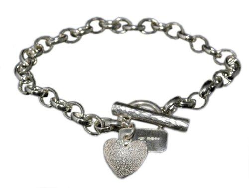 Handmade 925 Sterling Silver Textured Heart Bracelet / Bracelets - FREE Delivery in UK Gift Wrapped