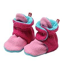 Zutano Newborn Unisex - Baby Fleece Bootie - Baby Fleece Bootie - HOTPINK/FUCHSIA/POOL 3M
