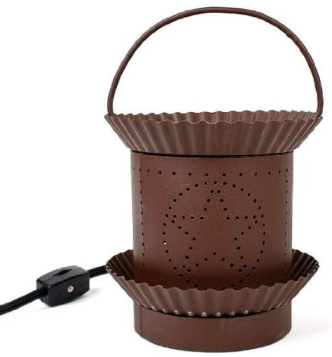 Candle Lamp Candle Warmer - Electric - Rusty Tin with Star Pattern (Electric Candle Tart Warmer compare prices)