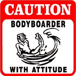 CAUTION: BODYBOARDER sport water surf sign