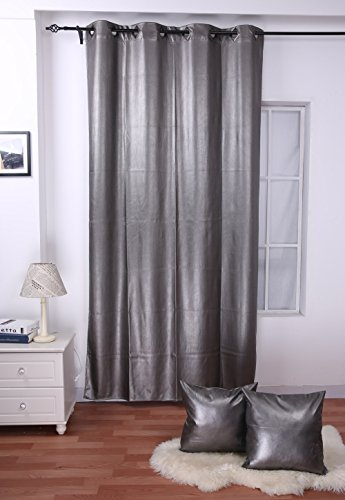 "Deconovo Metallic Thermal Insulated Leather Blackout Curtain 52X95 Inch Grey With Two 18"" Cushion Cover"