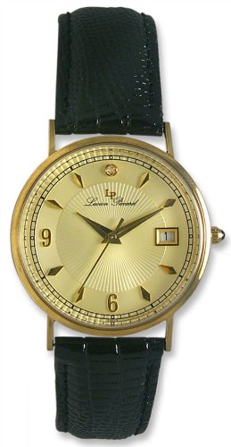 Lucien Piccard 14kt Solid Gold Mens Strap Watch LP00180