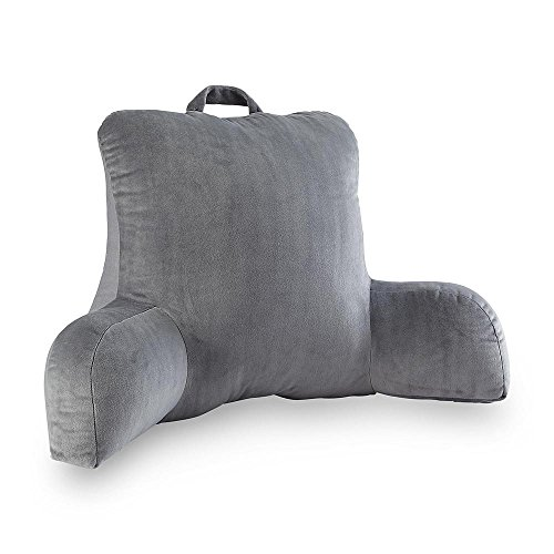 Velour gray bedrest reading posture arm pillow soft back for Best soft bed pillows