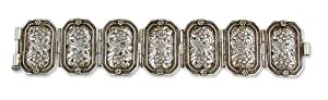 Sterling silver wristband bracelet, 'Floral Splendor'