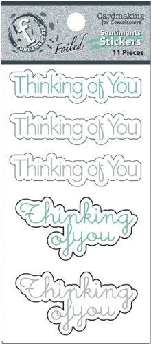 Ruby Rock-It Fundamentals Cardmaking Cardstock Stickers, 2.5 by 5.25-Inch, Thinking of You, 2-Pack